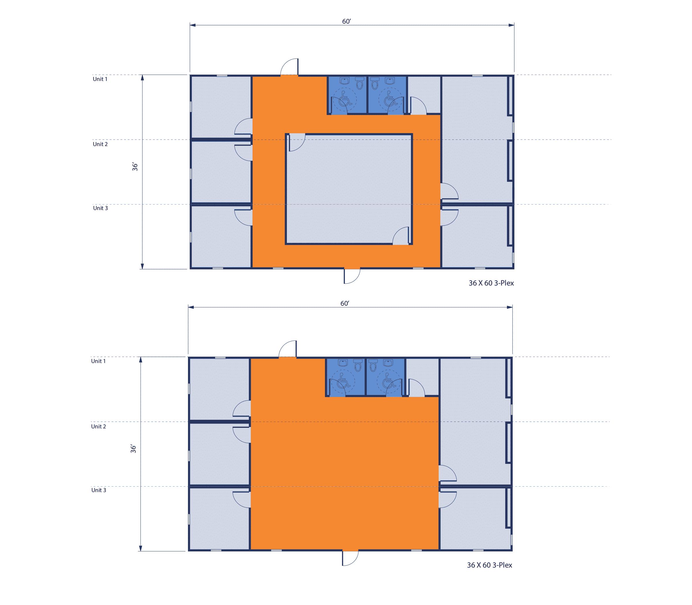 36' x 60' 3-plex modular office complex