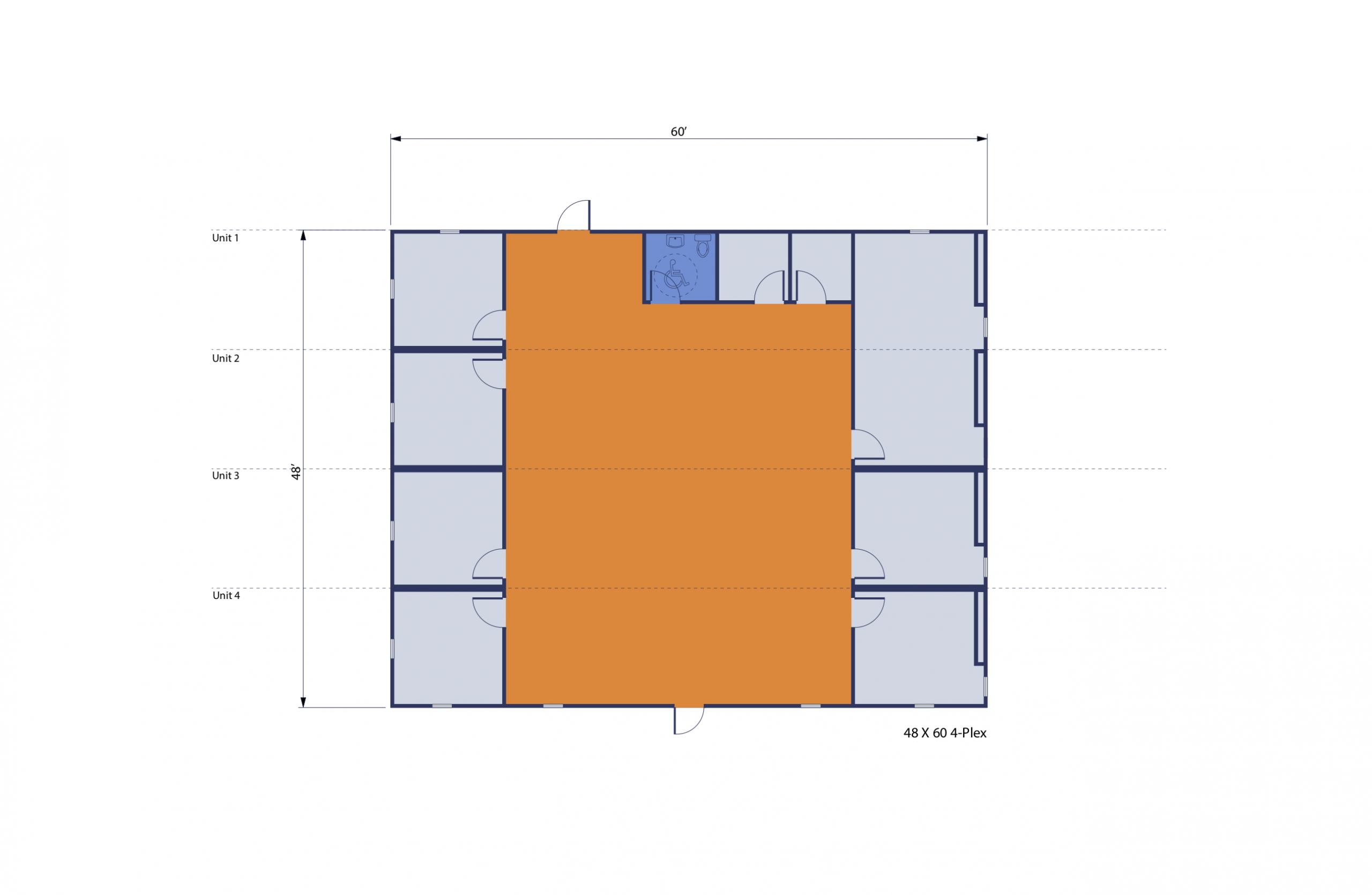 48' x 60' 4-plex Modular Office Complex