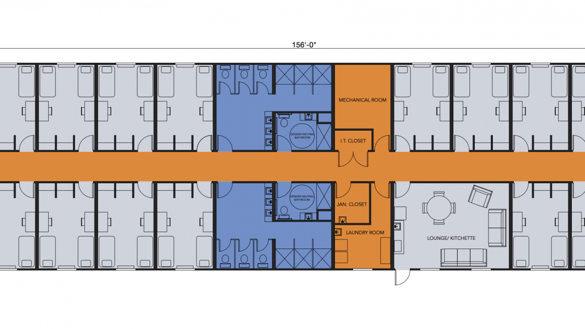 Layout of Modular Dorm Bedrooms and Hall for Modular Student Housing