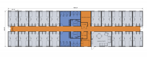 Layout of Modular Dorm Bedrooms and Hall