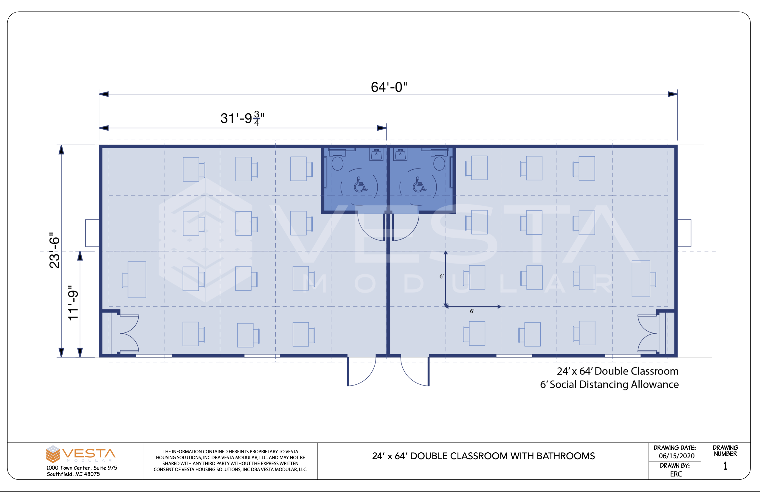 Pandemic and CDC Guideline Layout for Modular Classrooms