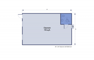 Single Mobile Classroom Floor plan w/handicap bathroom