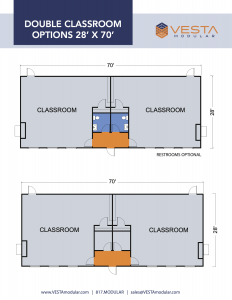 Example Floor Plans for 2 Classroom Modular Buildings with and without bathrooms