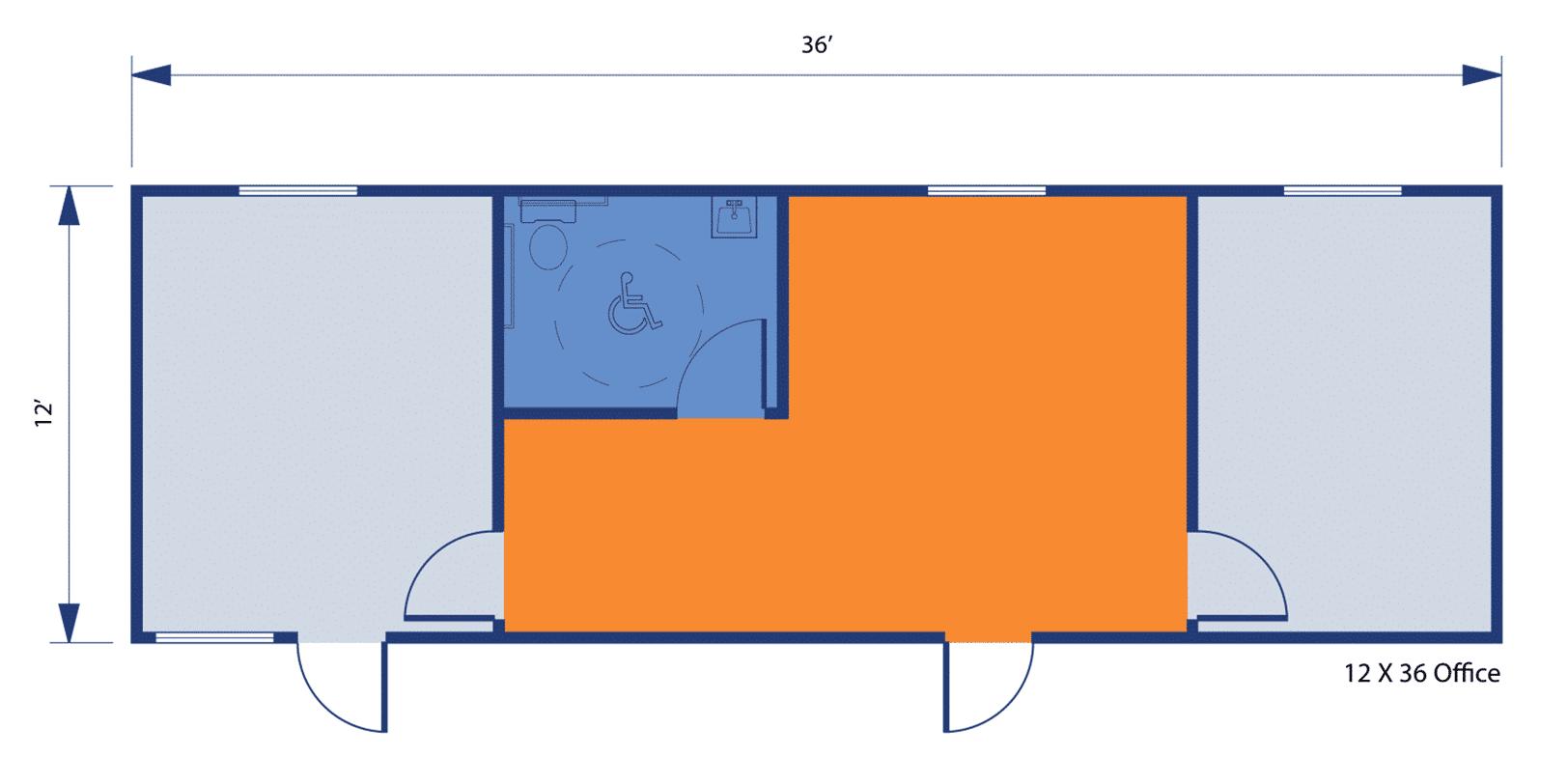 12'36' Single-Wide Modular Office Building floorplan