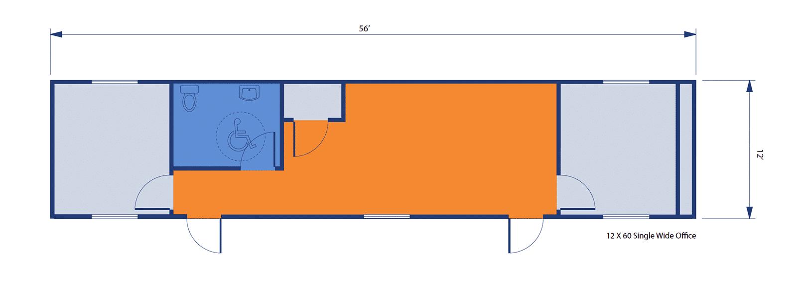 12'x60' Single-Wide Office floorplan