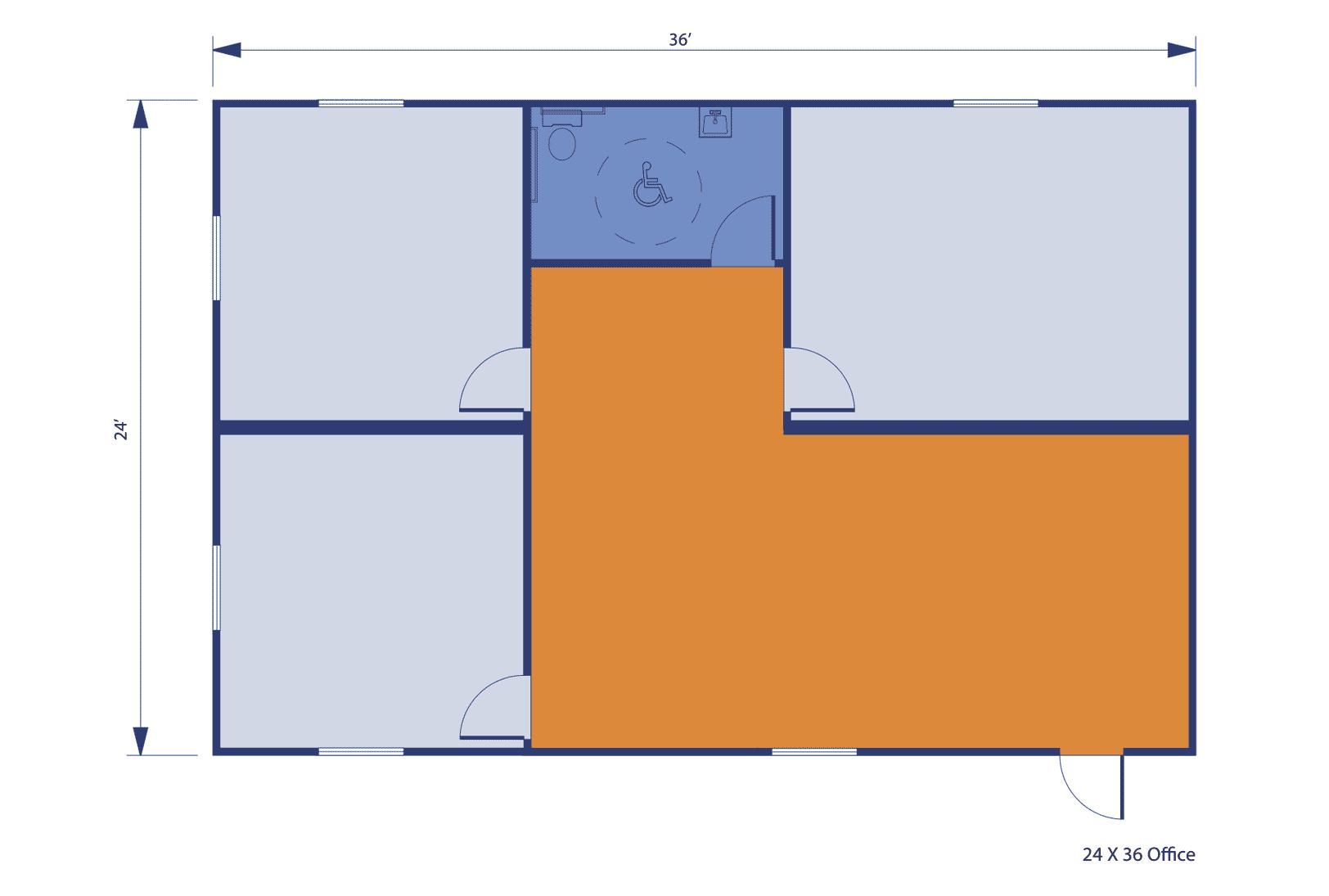 24'x36' Double-Wide Modular Office floorplan