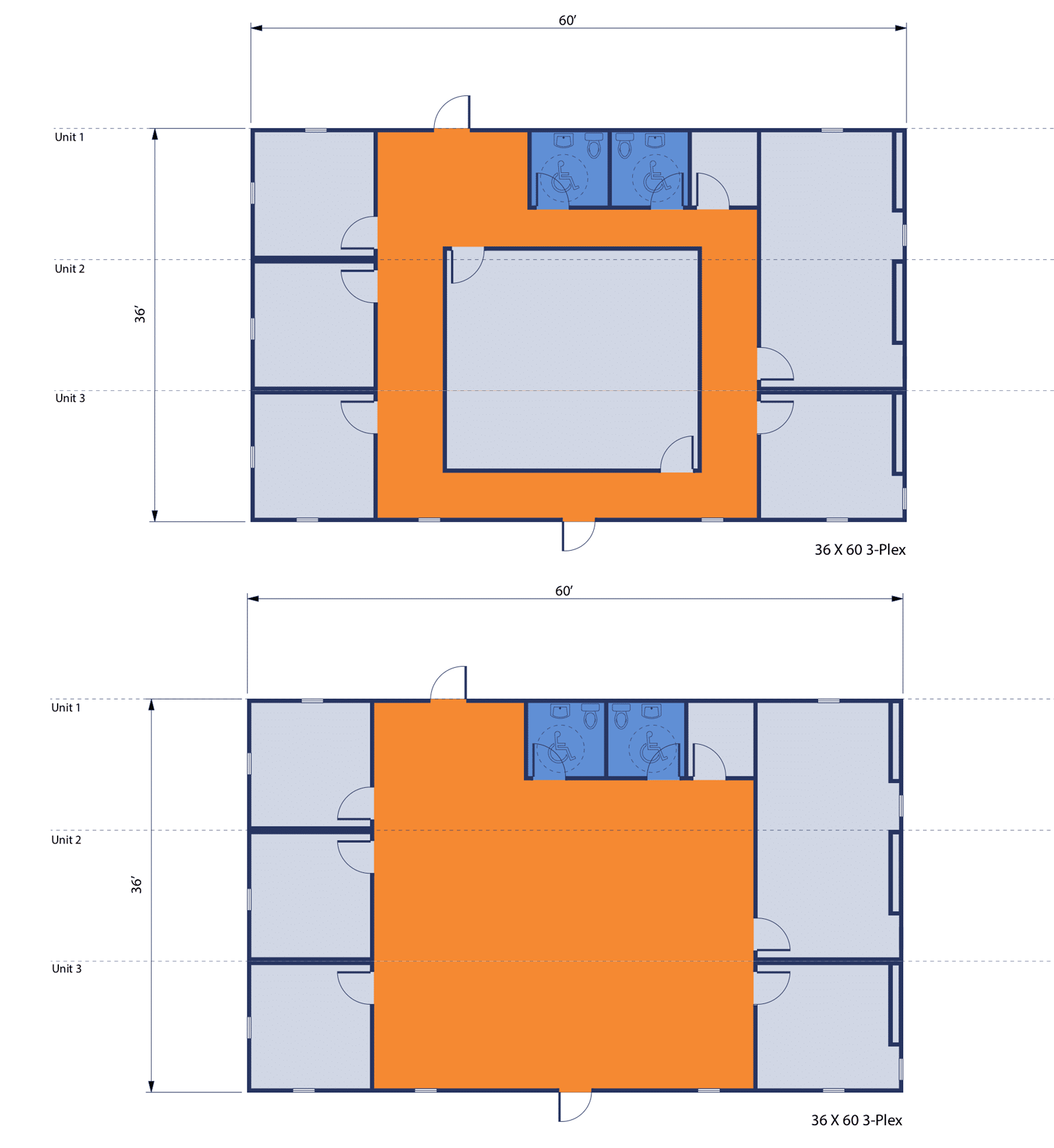 36'x60' 3-Plex Office complex floorplan