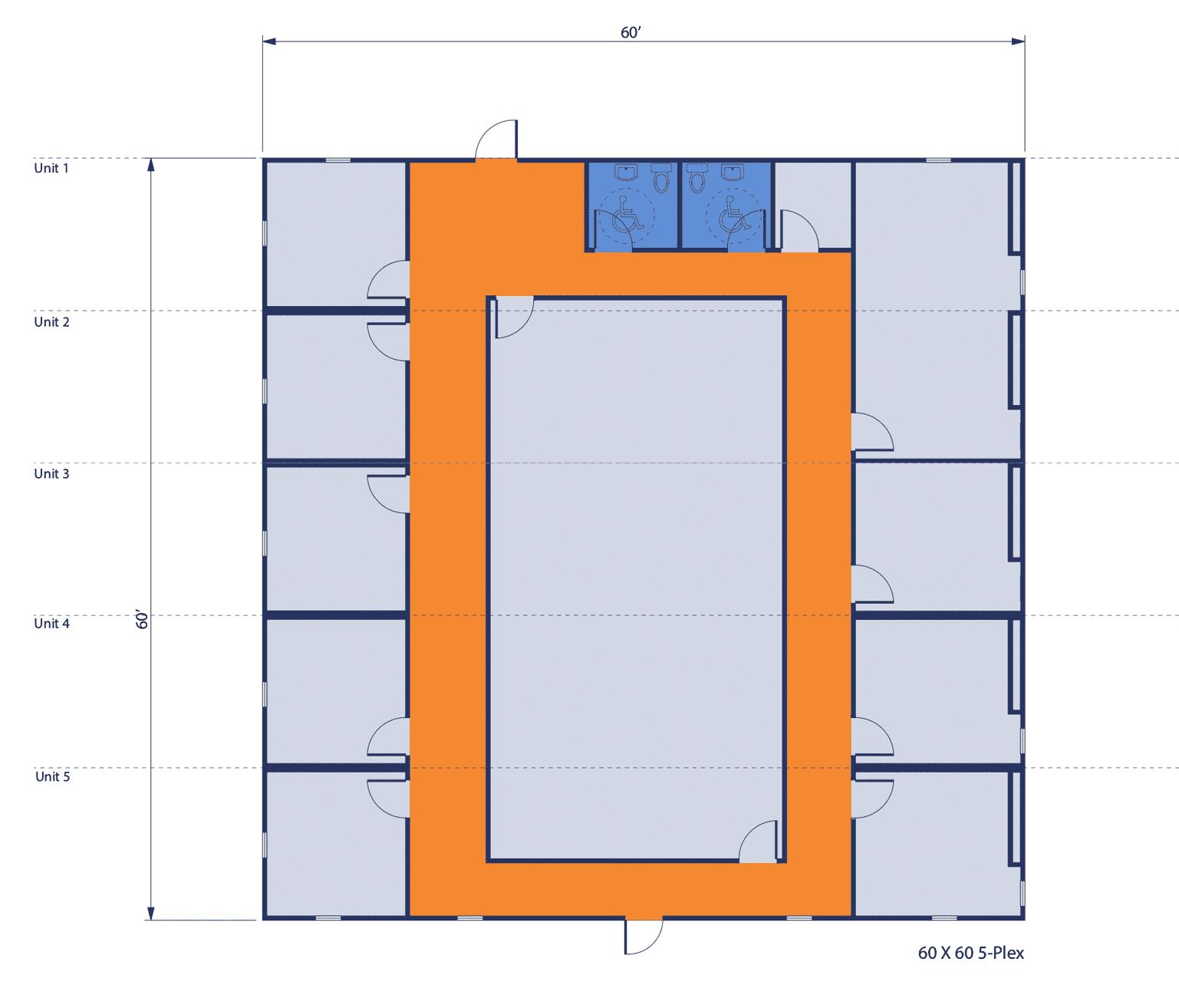 60'x60' 5-Plex Office Complex floorplan