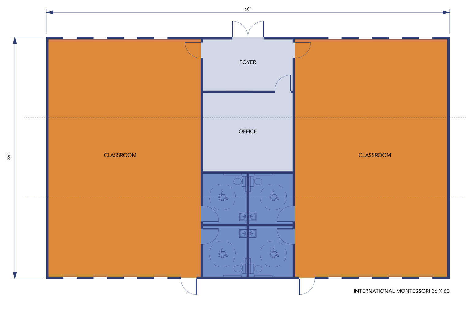 Multi-Classroom Modular Classroom building floorplan