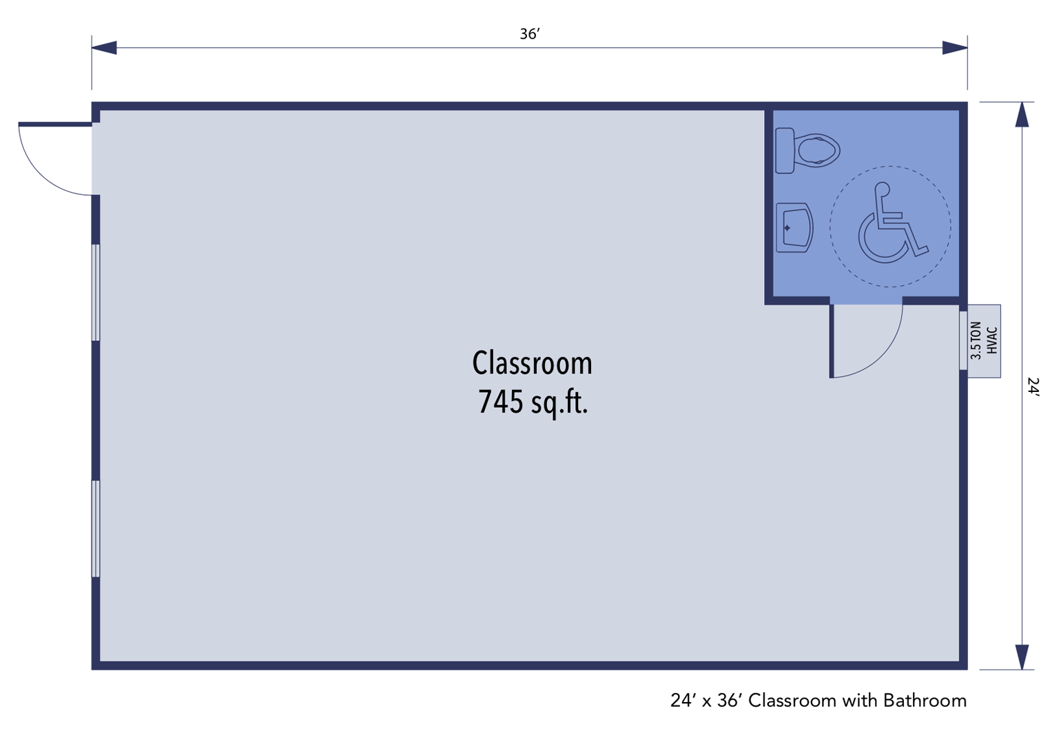 Single-Wide Modular Classroom building floorplan