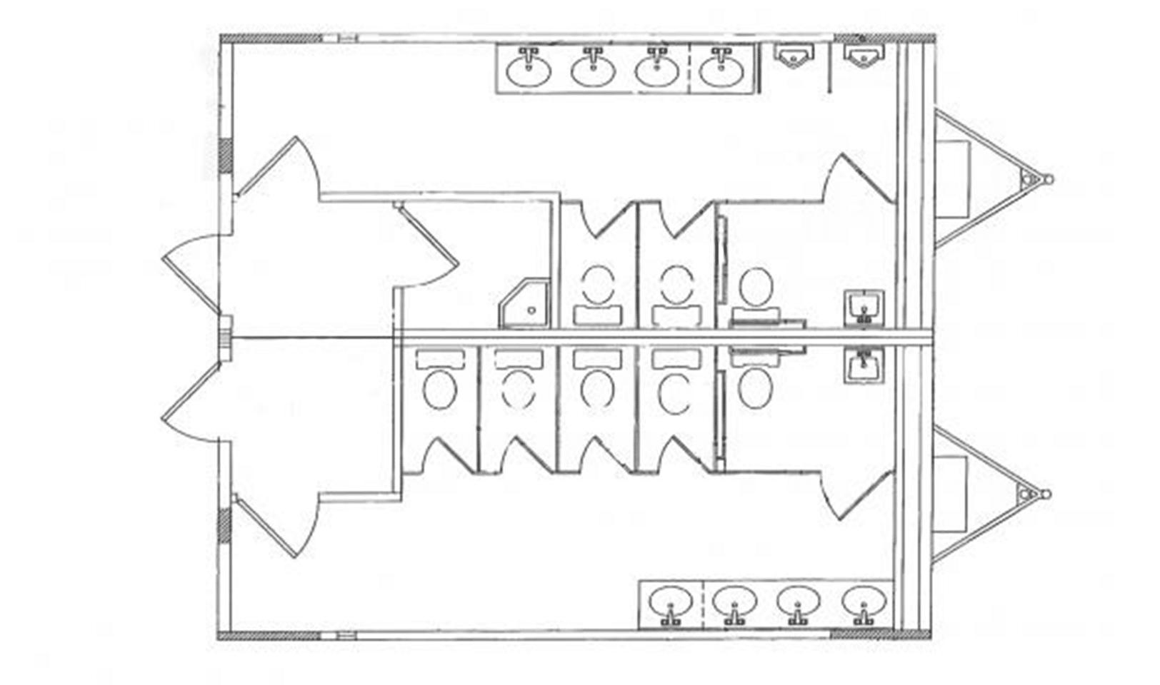 24' x 28' Modular restroom building floor plan