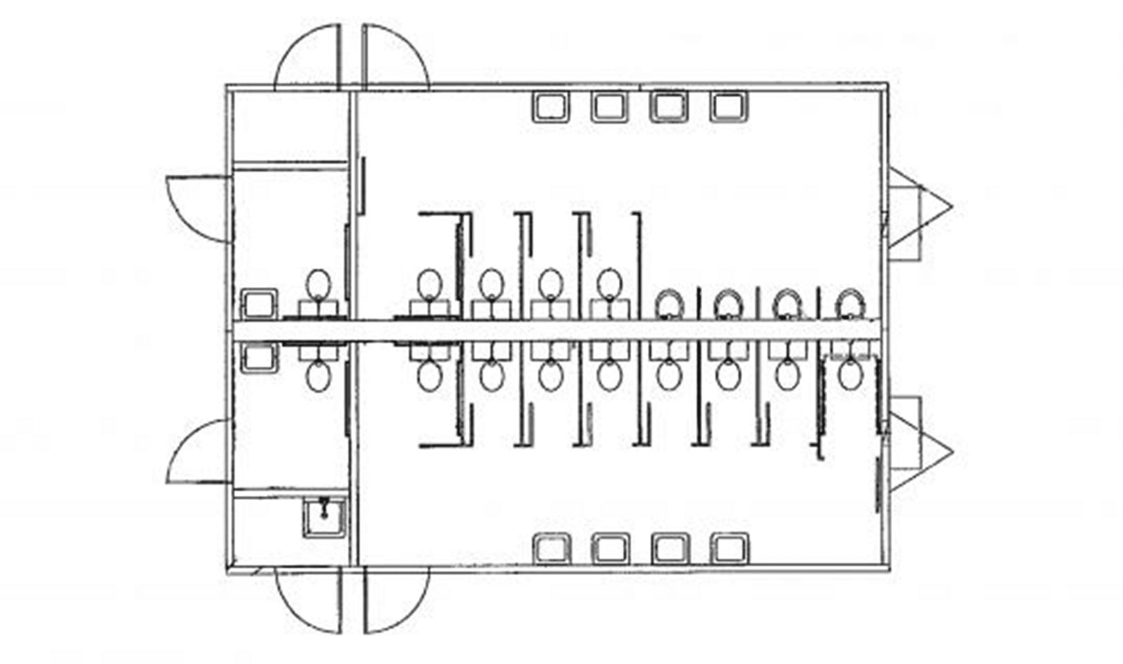 24' x 32' Modular restroom building floor plan