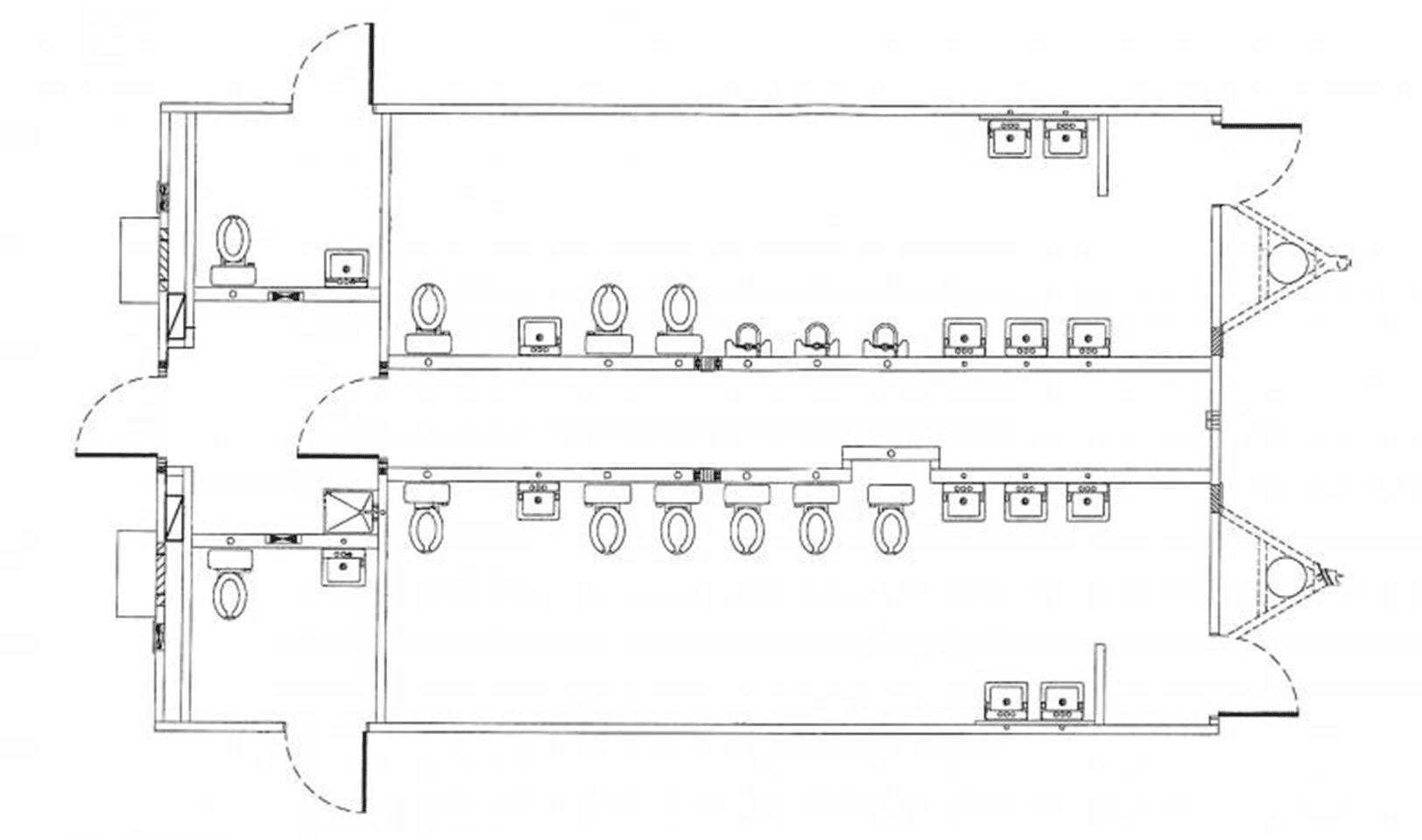 24' x 40' modular restroom building floor plan