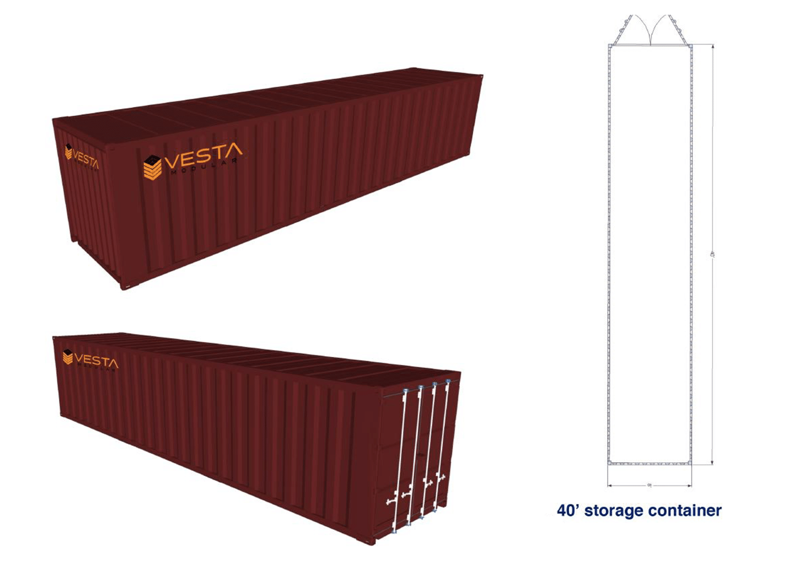 8' x 40' Shipping Container Floor Plan